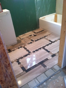 floor tile mortared